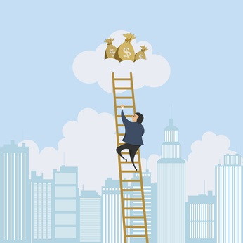 a many climbing the money ladder to success-passion or paycheck