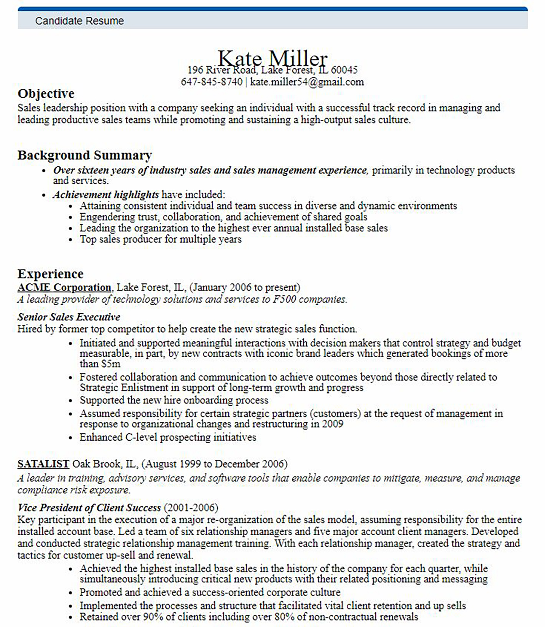 Sales Recruiting Treeline Resume